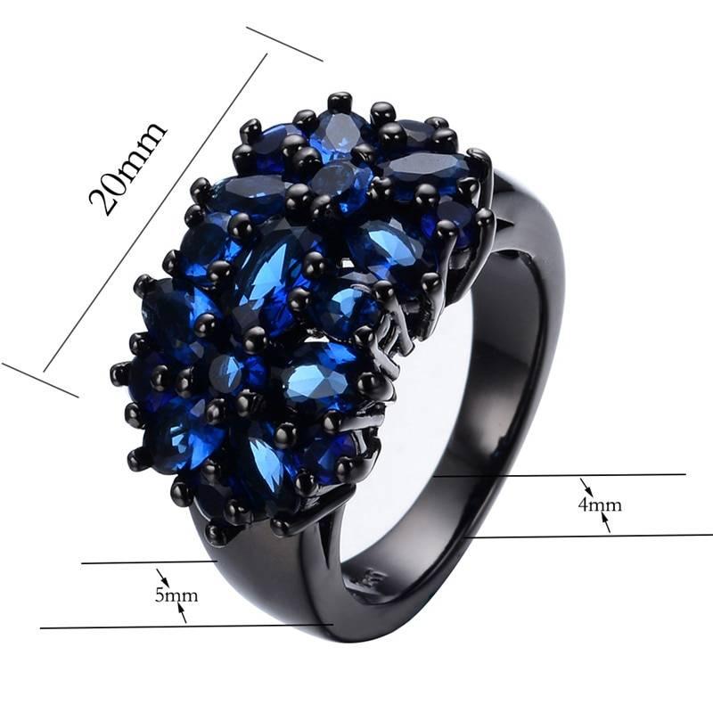 Small Oval Purple Crystal Zircon Star Flower Rings For Women Men Vintage Black Gold Multicolor Stone Ring Female Wedding Jewelry