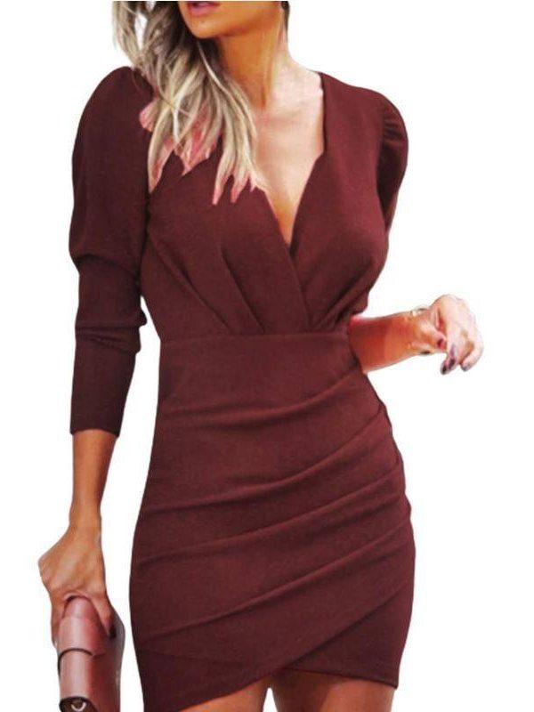 Elegant long sleeve wrap dress