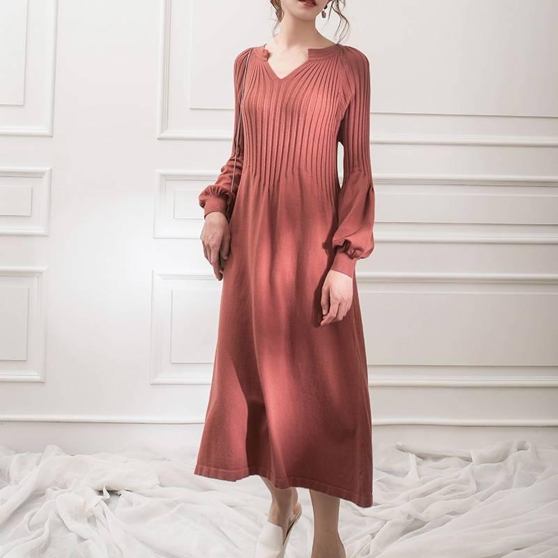 Knitting v-neck solid color retro dress