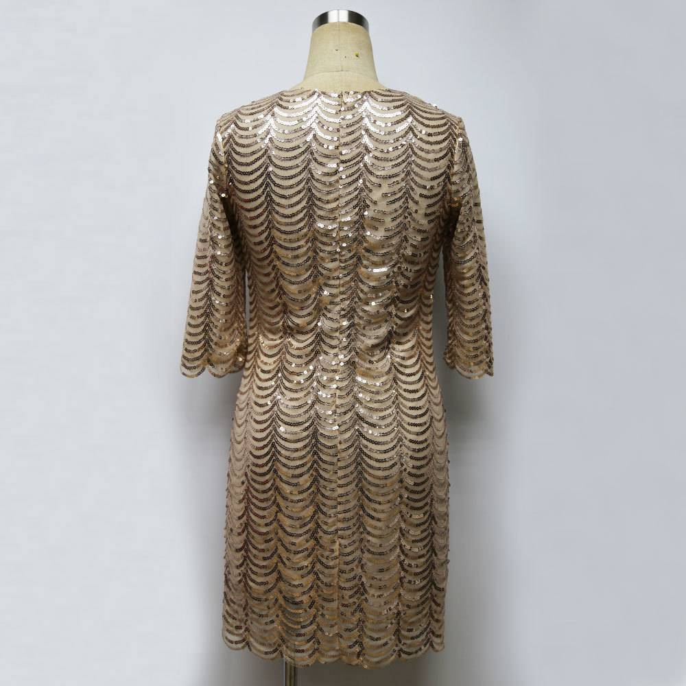 Black gold blue sequin bodycon vintage dress