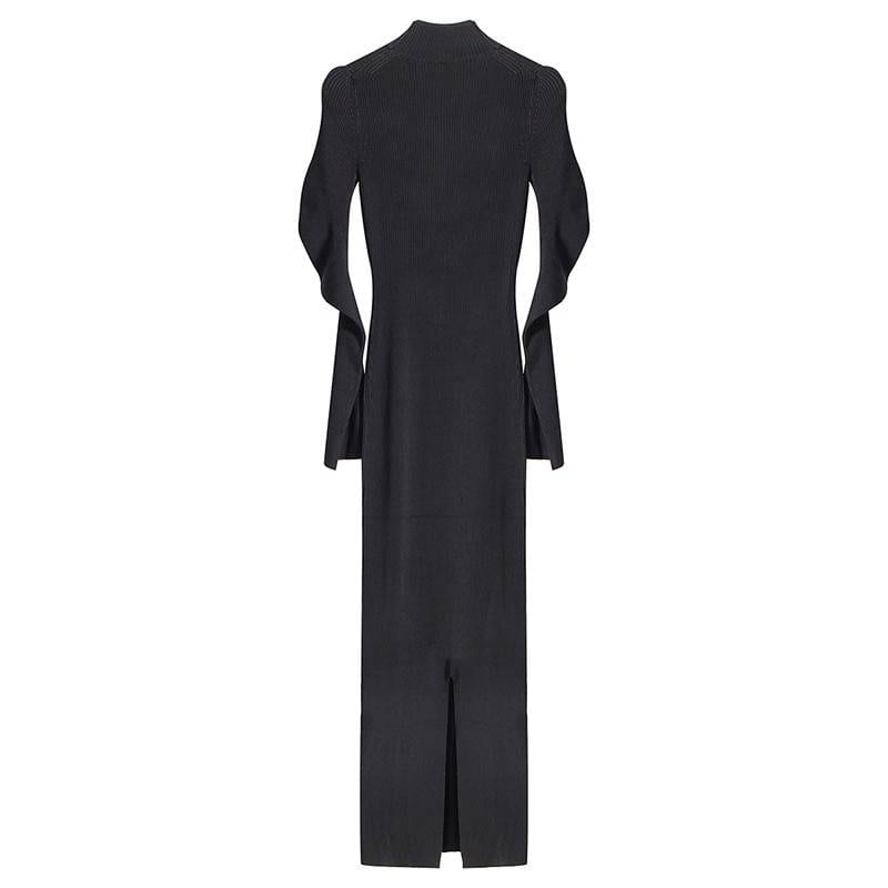 Metal chain hollow out long knitting dress