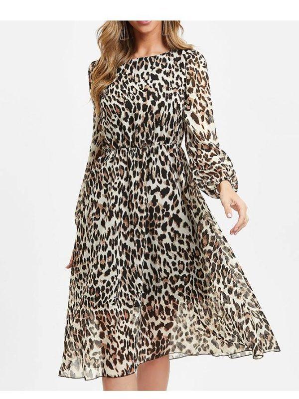 Leopard print o neck long sleeve chiffon dress