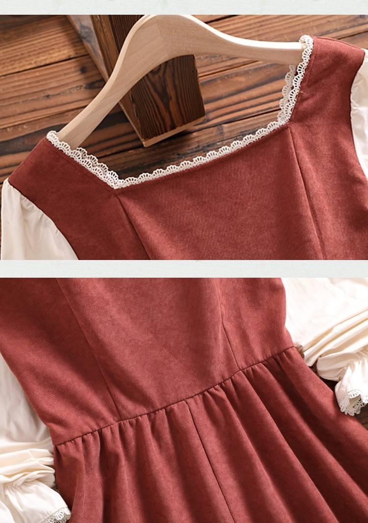 Mori girl cute sweet dress Japan style autumn winter new arrival bow long sleeve women vintage vestidos