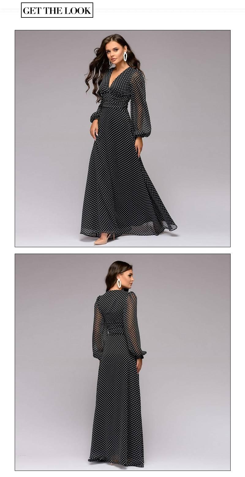 Bohemian dot printed deep v-neck long sleeve chiffon long dress