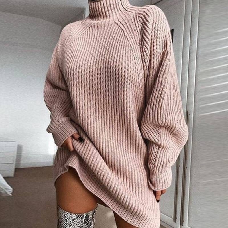 EVERAFTER Elegant sweater dresses for wome turtleneck long sleeve solid loose thicken fashion basic autumn winter knitted dress