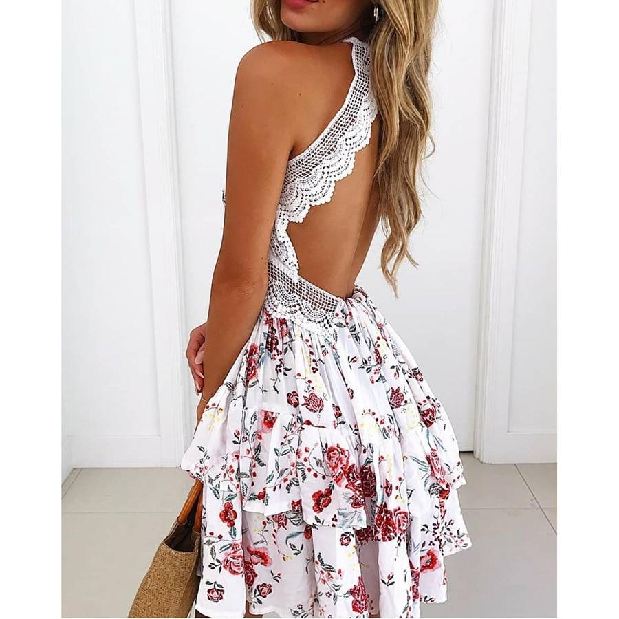 Halter print lace v neck ruffle sleeveless backless hollow out high waist beach dress
