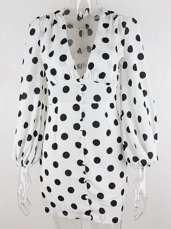Black dot deep v neck long sleeves bodycon high waist dress