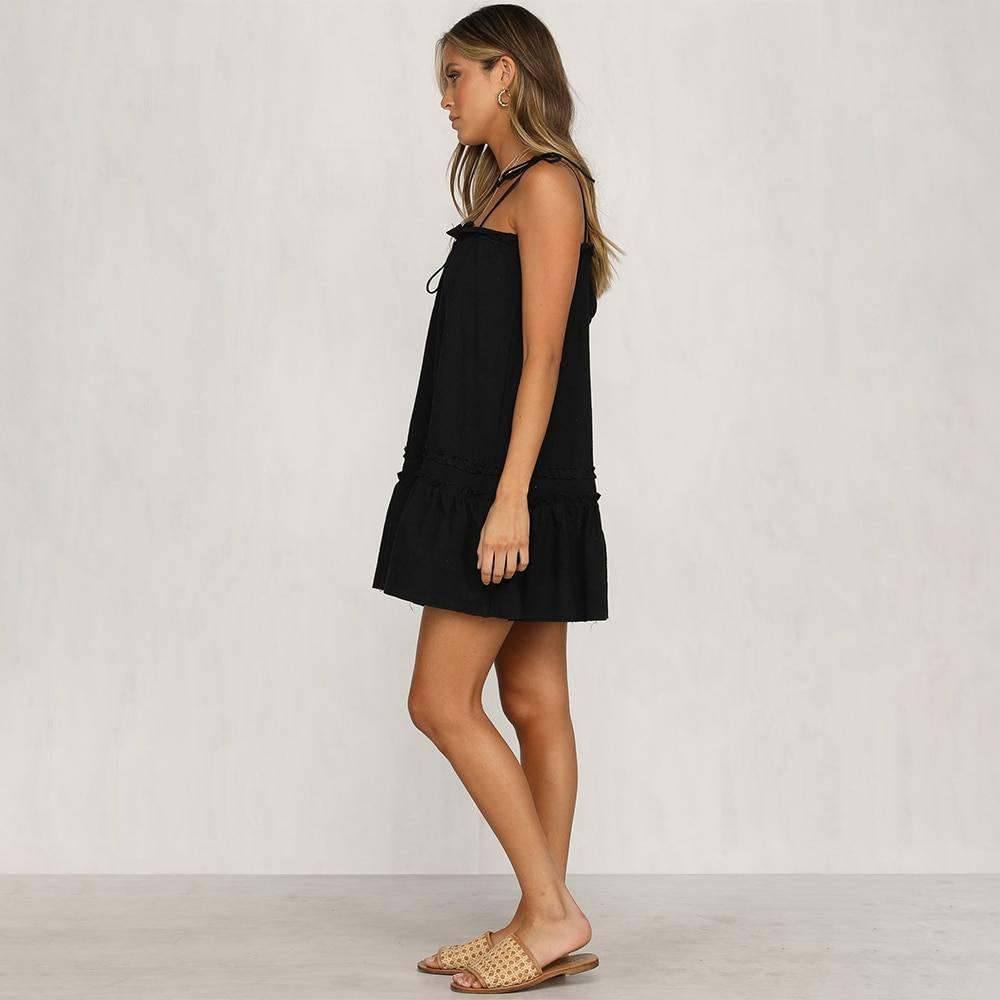 Drawstring sleeveless mini dress