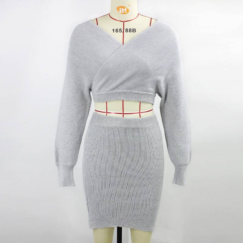 Strapless crop top and sweater dress knitted two piece set