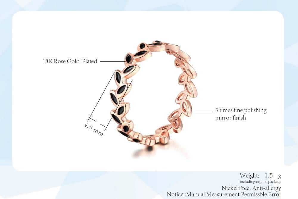 Oliver leaf rose gold color austrian crystals ring