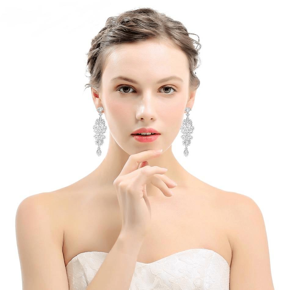 Silver color crystal wedding drop earrings