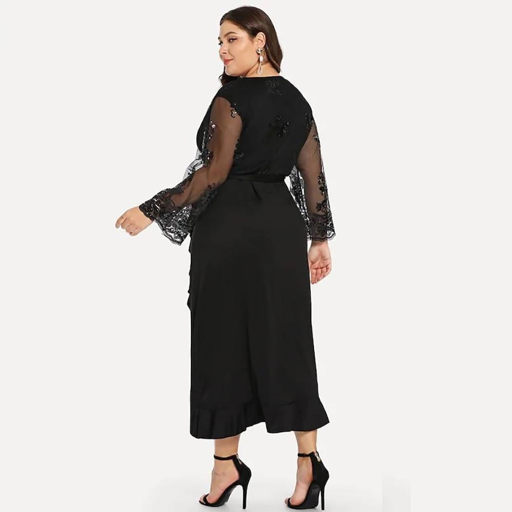Elegant black v neck long sleeve sequied ruffles irregular long dress
