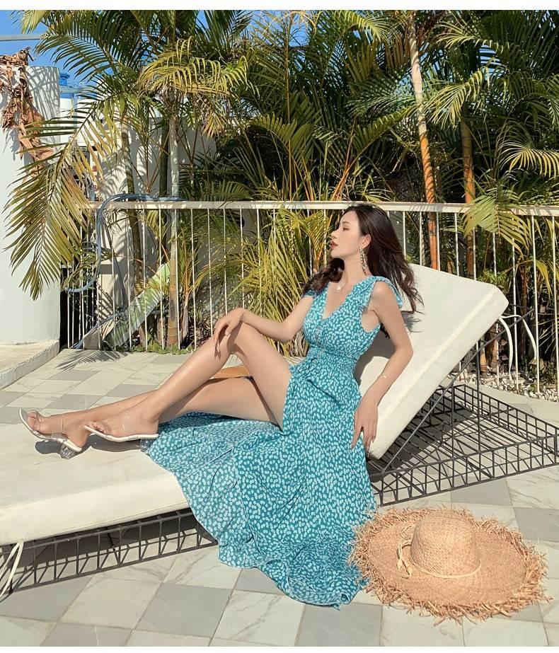 Vintage irregular ruched backless ruffle floral maxi dress