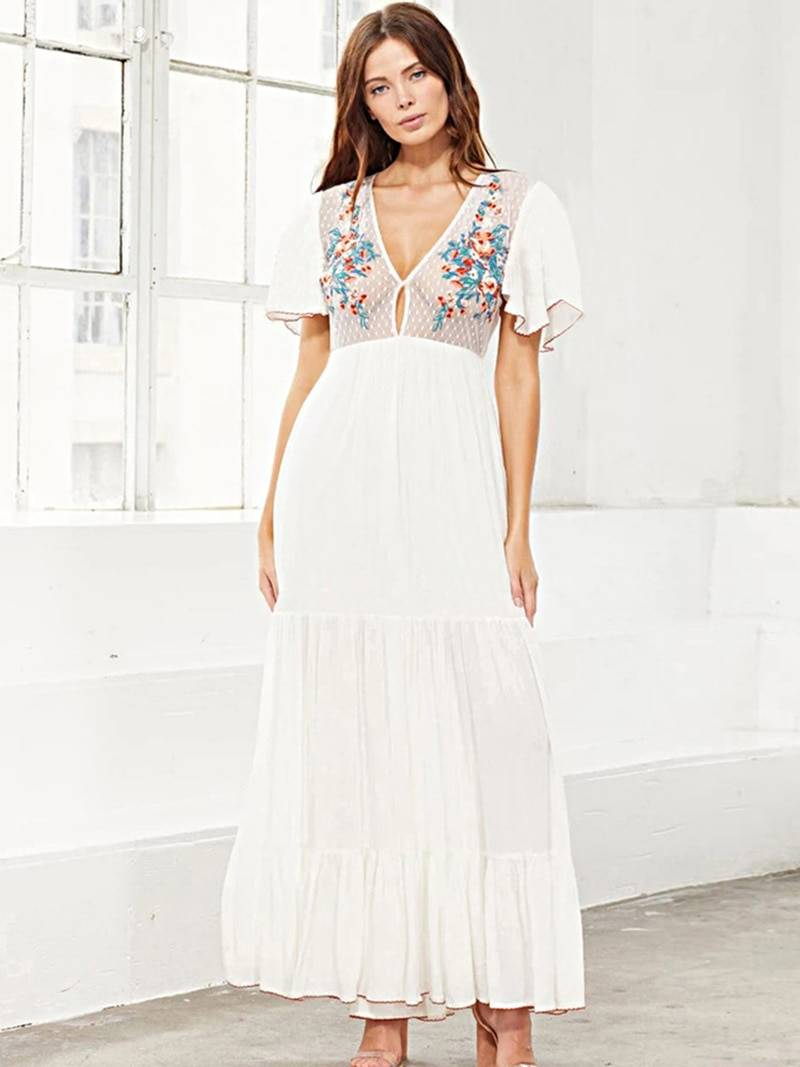 Embroidery flower mesh patchwork bohemian long dress