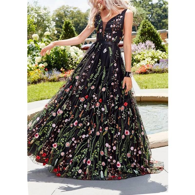Elegant romantic a-line flower dress