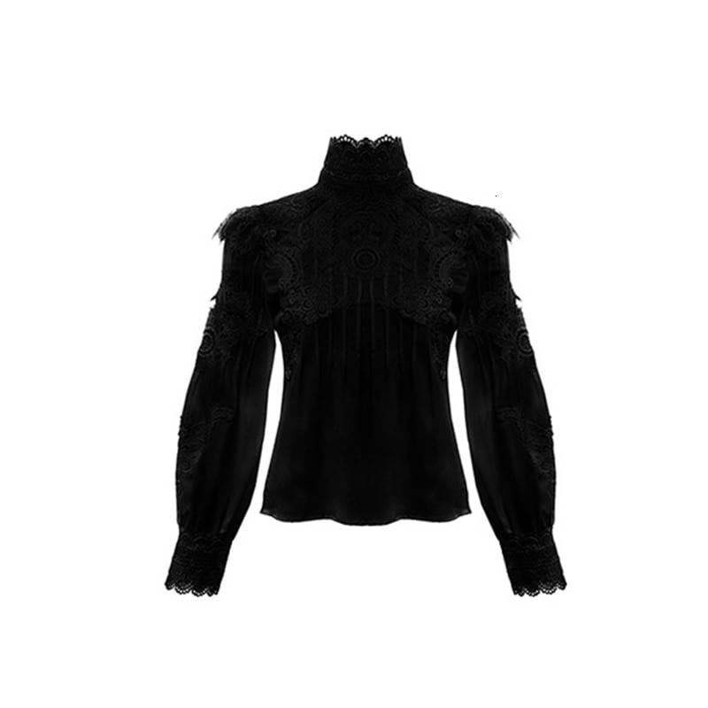 Lace hollow out stand collar puff sleeve shirt