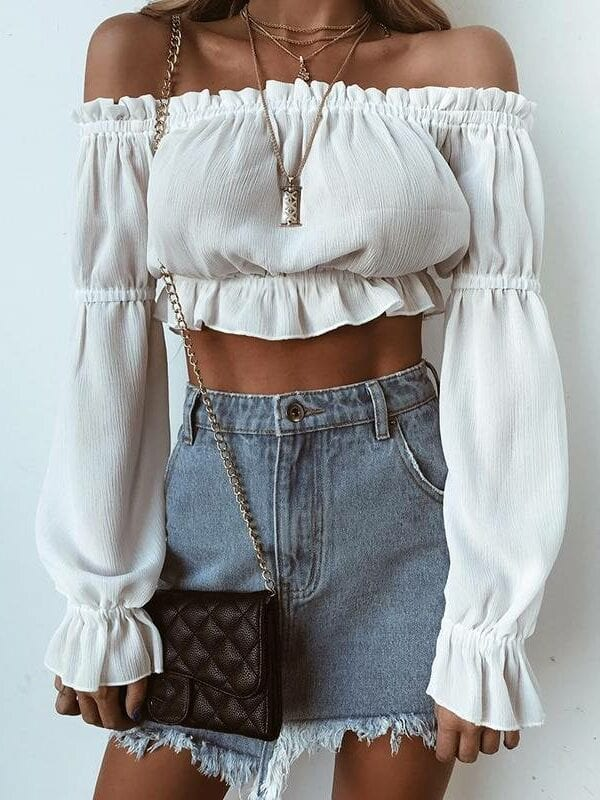White chiffon off shoulder ruffles pull sleeve blouse shirt
