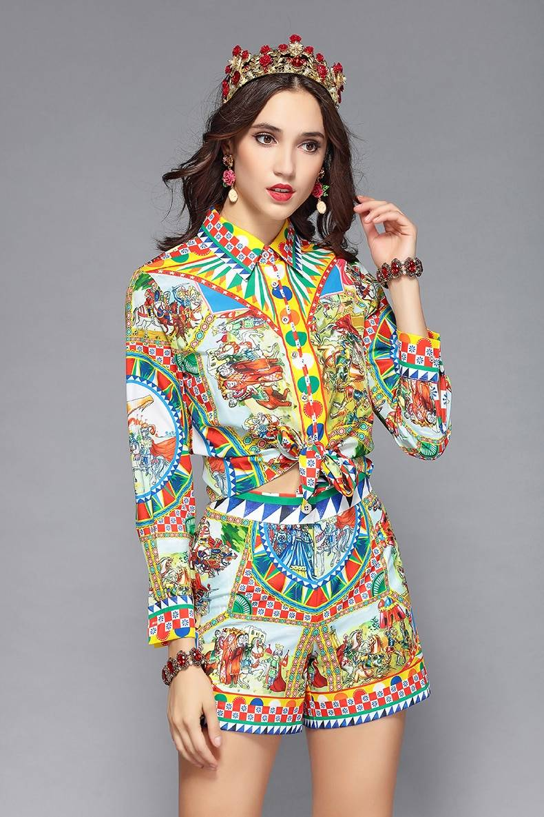 Long sleeve print blouse + shorts two pieces set