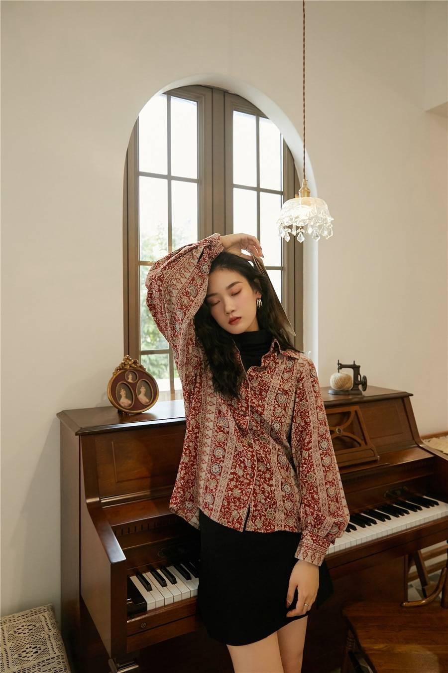 CHEERART Vintage Floral Shirts Women 2020 Red Long Sleeve Button Up Shirt Ladies Top Lantern Sleeve Blouse Korean Clothes