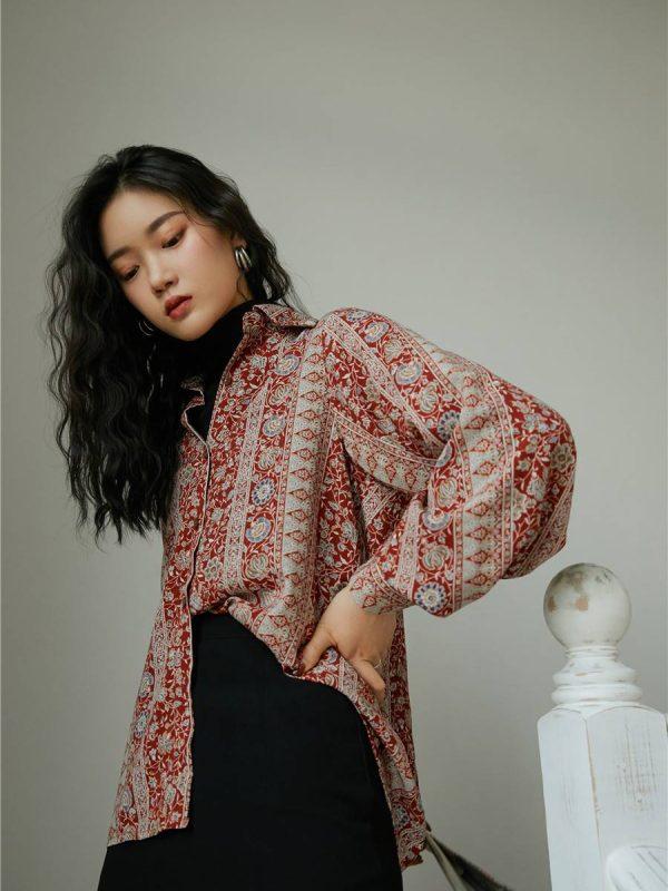 Vintage floral long lantern sleeve button up blouse shirt