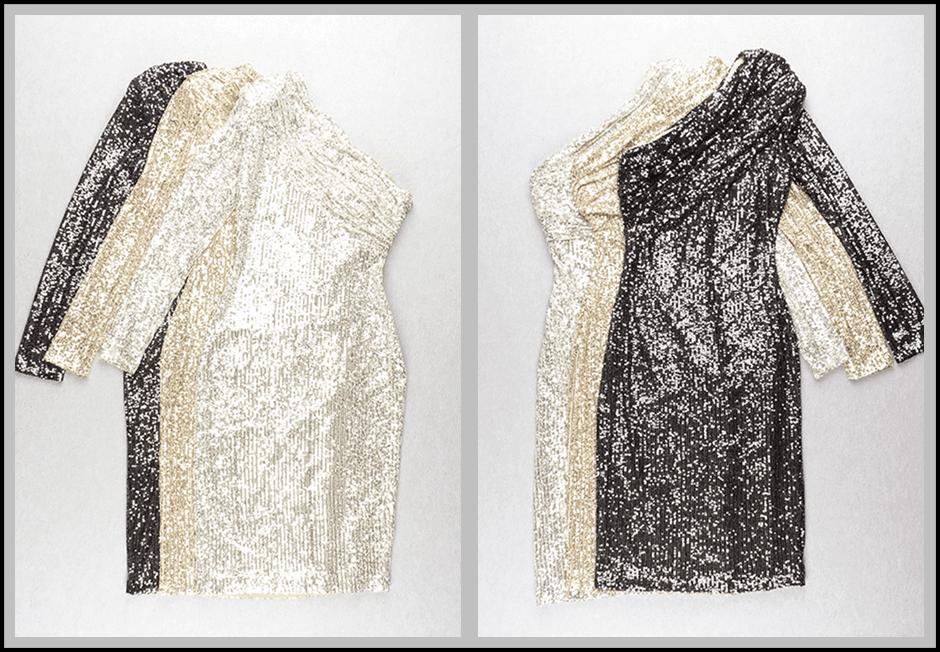 One shoulder sparkle sequins mesh patchwork dress
