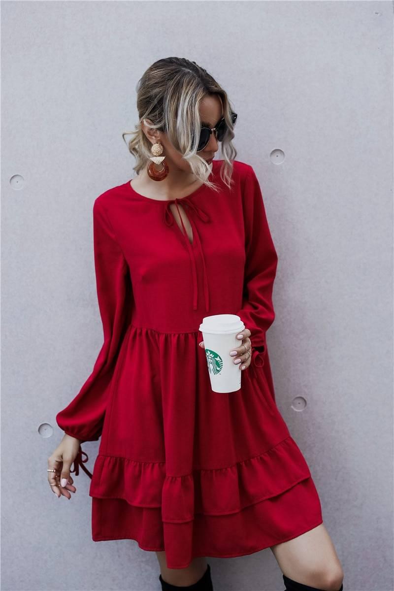 O-neck lace up long sleeve hollow out loose ruffles high waist dress