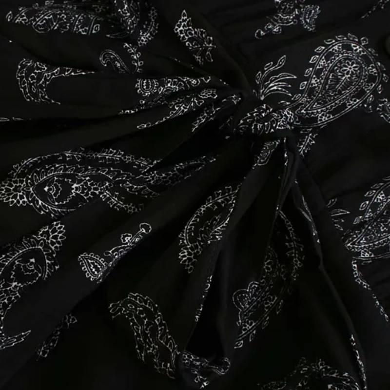 Vintage printing sashes puff sleeve shirt dress