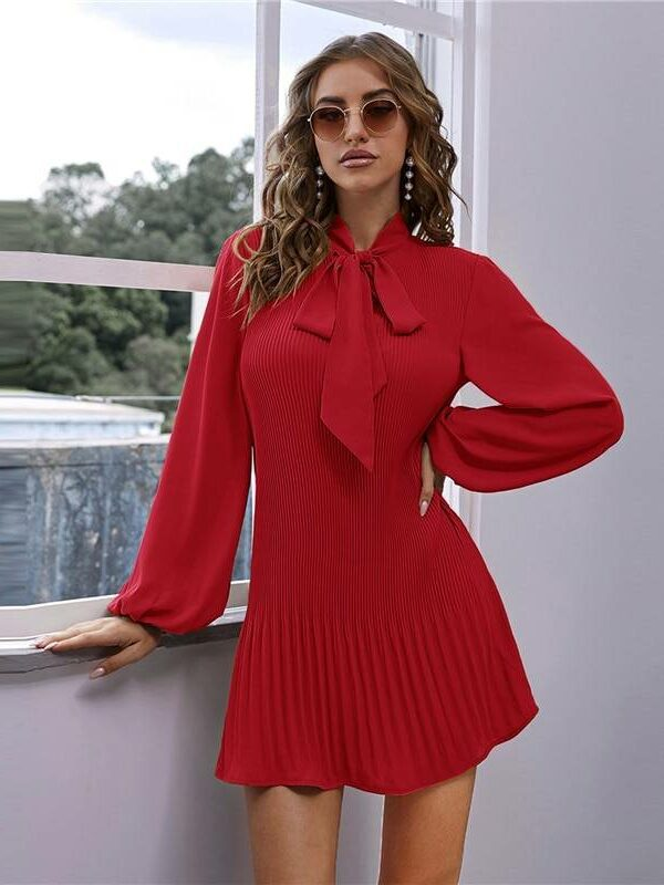 Red tie neck lantern long sleeve pleated mini dress