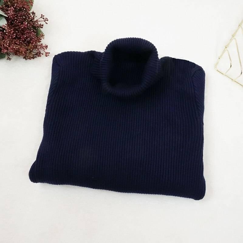 Button long sleeve turtleneck knitted sweater dress