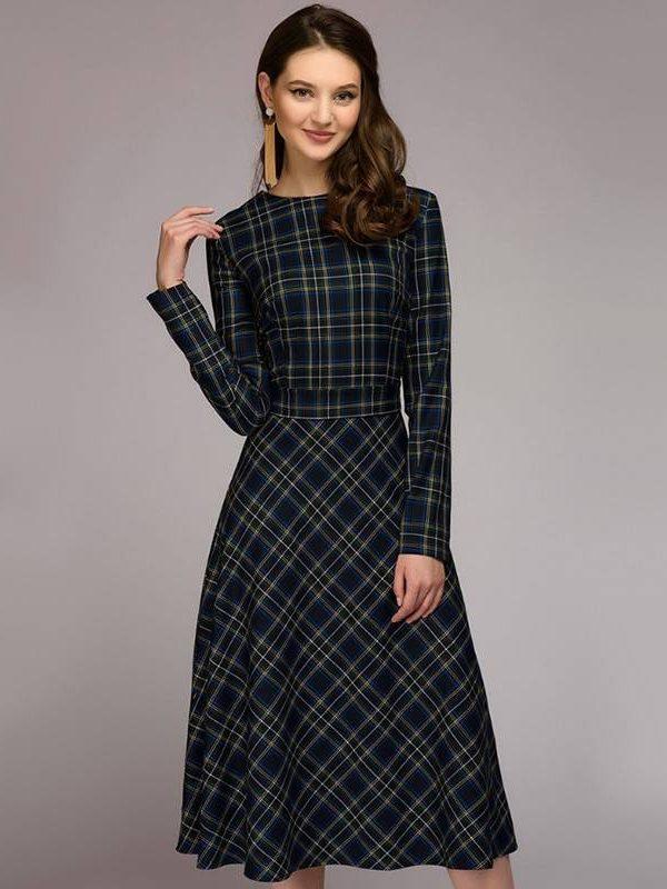 Vintage plaid printed a-line sashes long sleeve o neck office dress