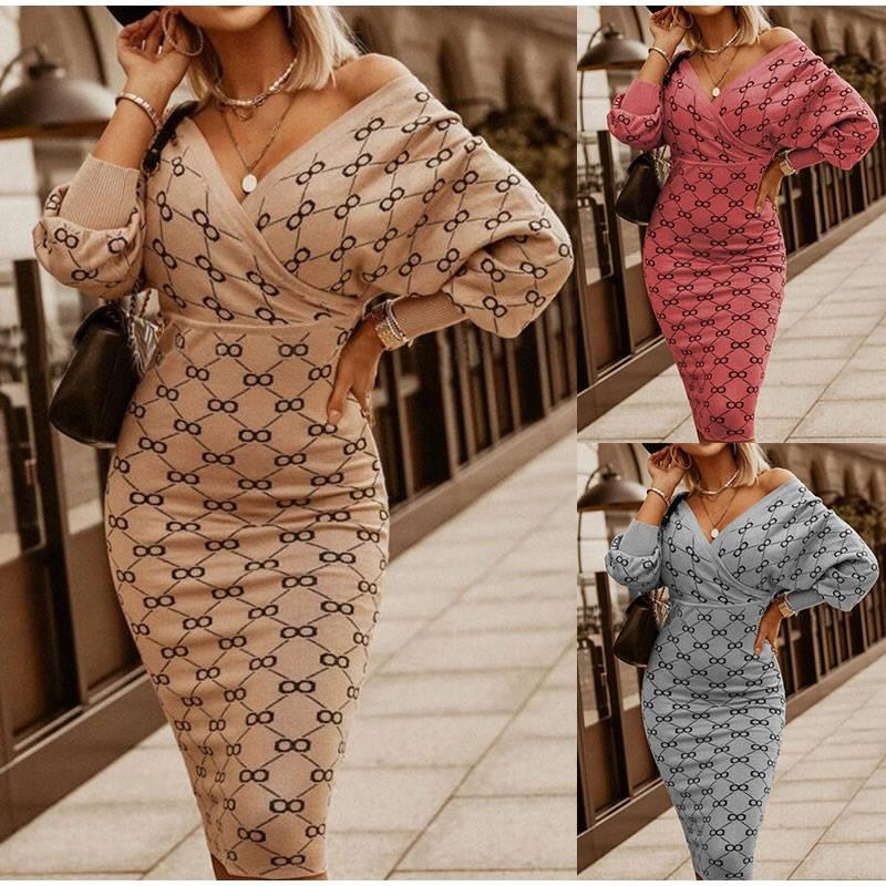 V-neck leopard high waist office knitted dress
