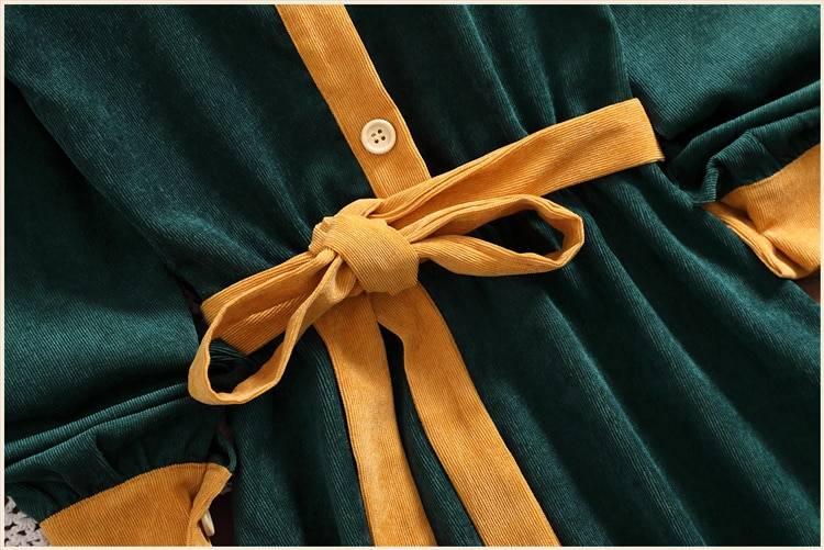 Green retro vintage patchwork knee-length office dress