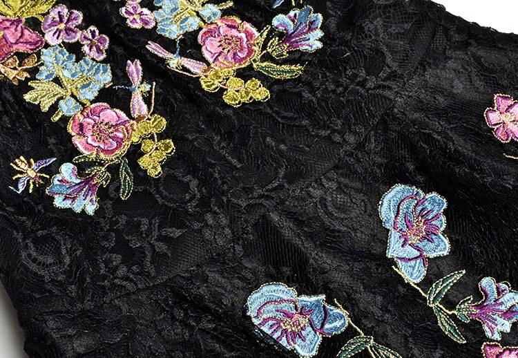 Colorful flowers lace embroidery short sleeve a-line black dress