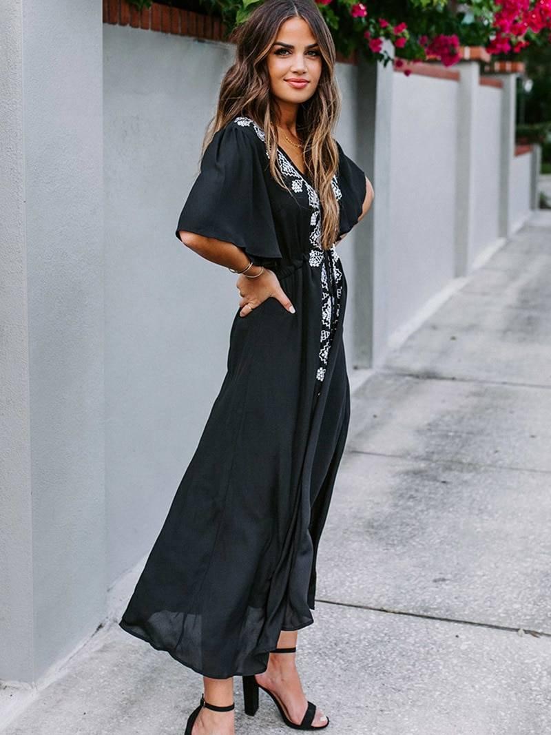 Embroidery flare sleeve a line black bohemian maxi dress