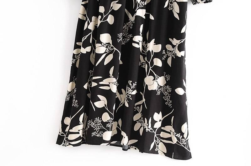 Vintage long sleeve neck tie ethnic black floral print bohemian dress