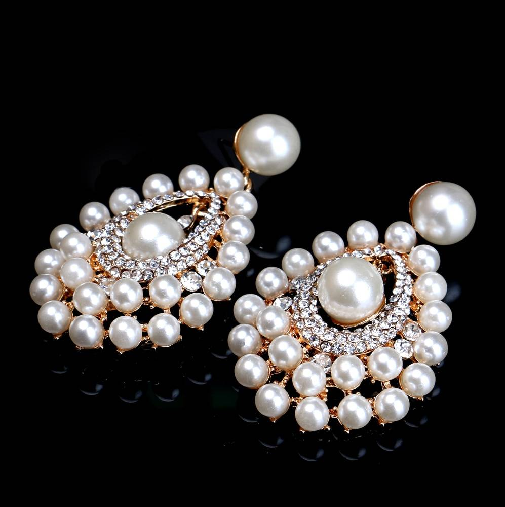 Gold color pearl crystal statement earrings