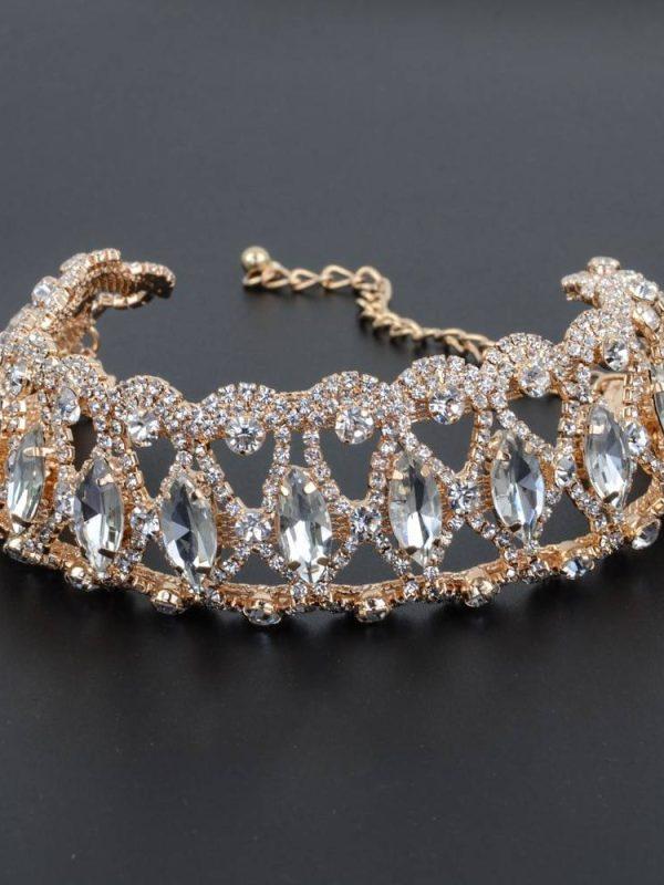 Flower crystal rhinestone gold silver wedding chocker