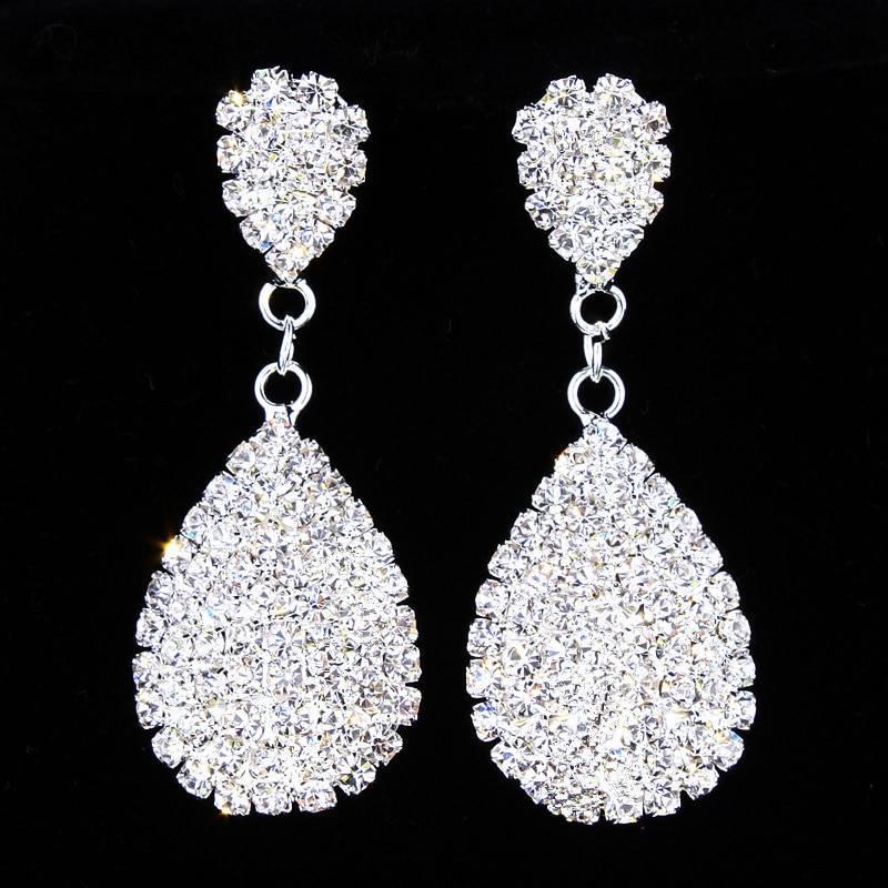 Classic elegant full clear rhinestone dangle earrings wedding jewelry