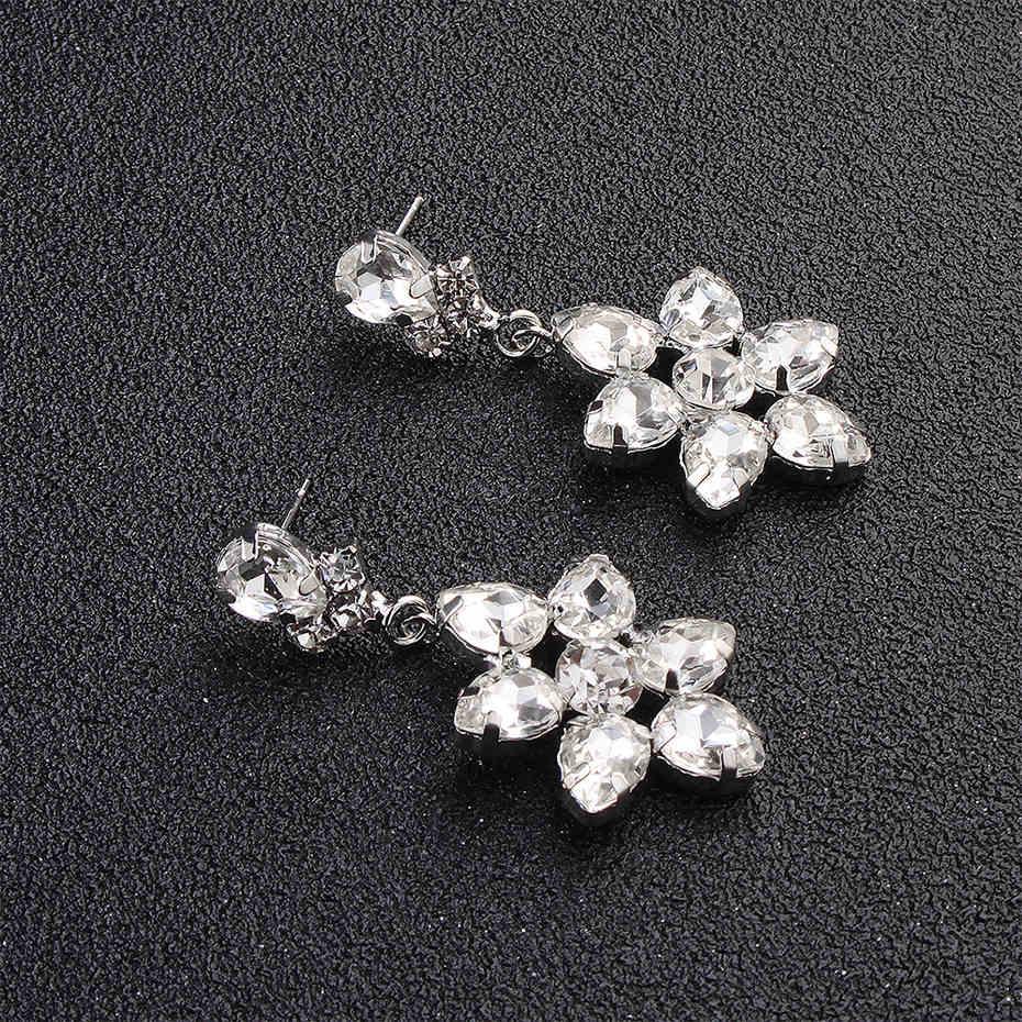 Miallo Fashion Austrian Crystal Alloy Bridal Long Earrings for Women Wedding Big Earrings for Bride Bridesmaids
