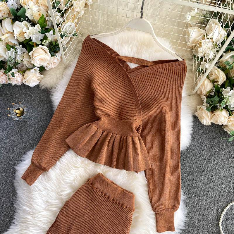Shiny knitting skirt long sleeve sweater two pieces set