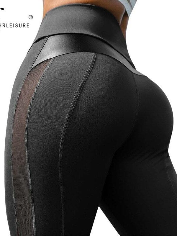 High waist mesh and pu leather patchwork fitness leggings
