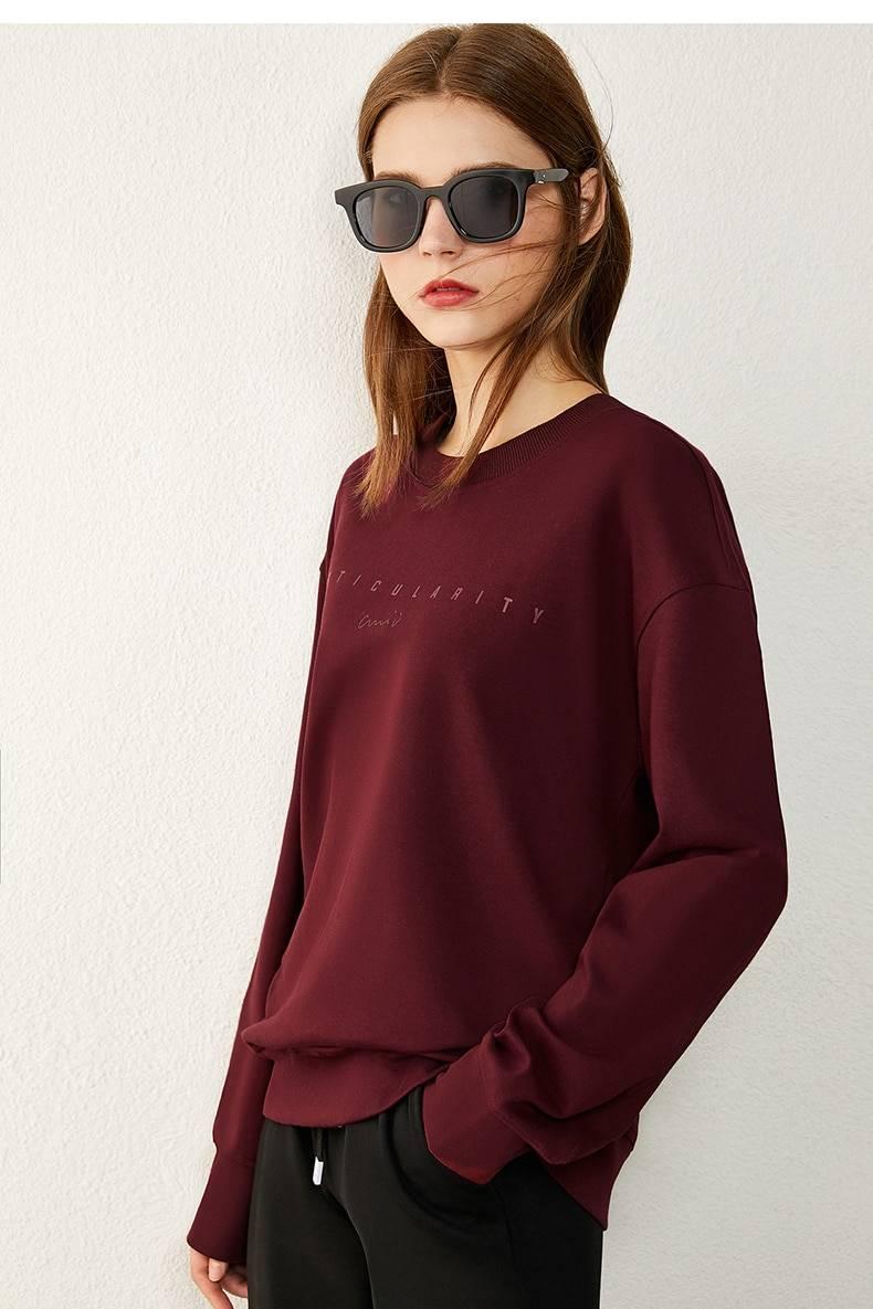Letter embroidery fleece thick sweatshirt