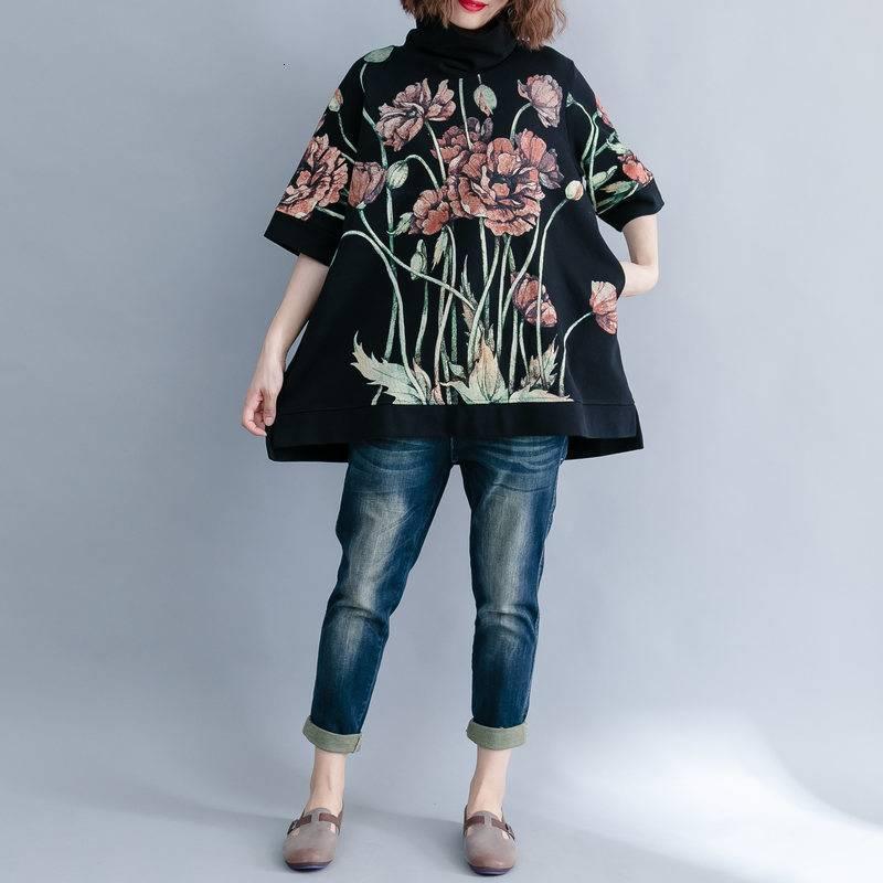 Black turtleneck loose print floral hoodies sweatshirt
