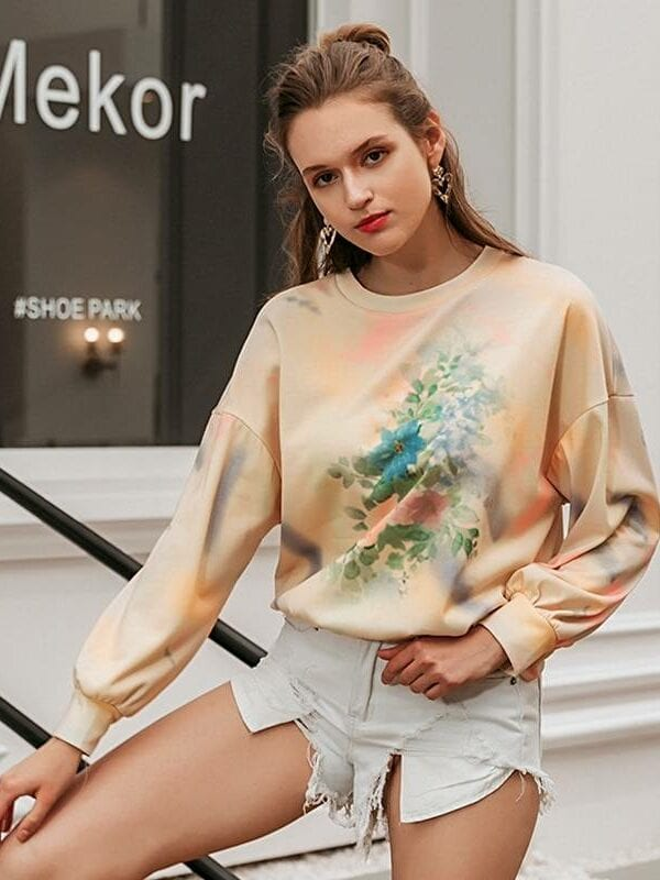 Chic colorful printed long sleeve knitted sweatshirt