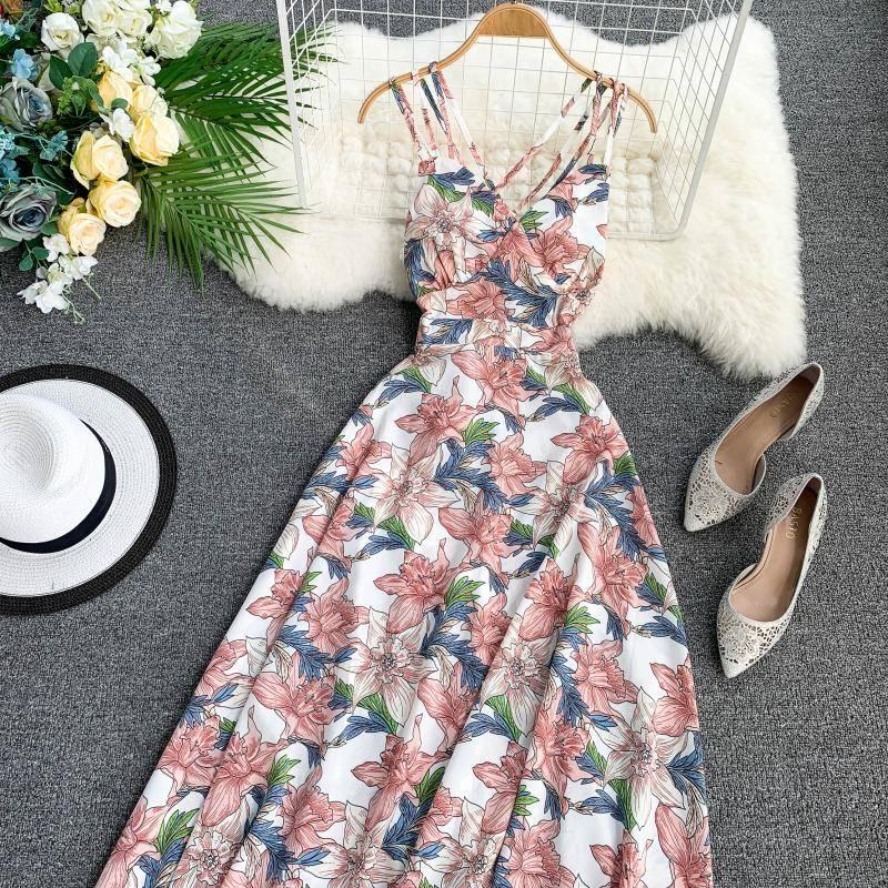 Elegant bohemian floral print v-neck backless long dress