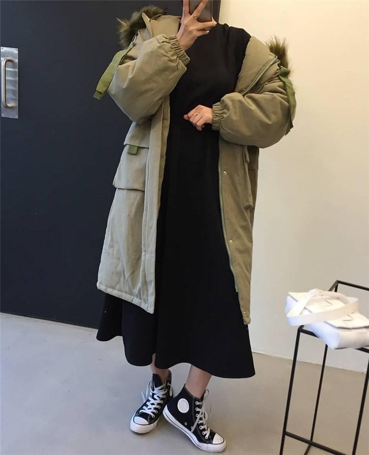 High elastic waist pockets long minimalist dress