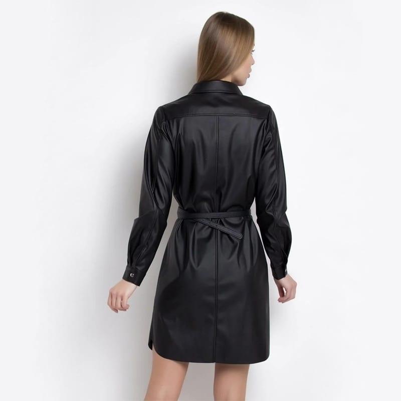 Dabourfeel Fashion PU Leather Dress Women Casual Pockets Belt Button Dress Long Sleeve Turn Down Collar Office Lady Streetwear