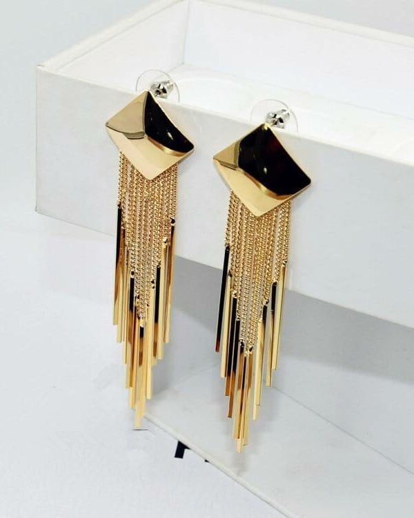 Glossy simple geometric square long tassel earrings