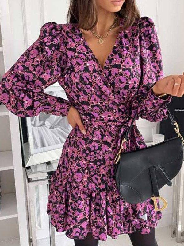 Floral chain print v neck bandage ruffle shirt mini dress