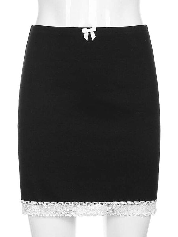 Sweet bow lace trim high waist bodycon black skirt